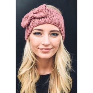 Couture Gypsy Pink Bow Knit Sweater Headband